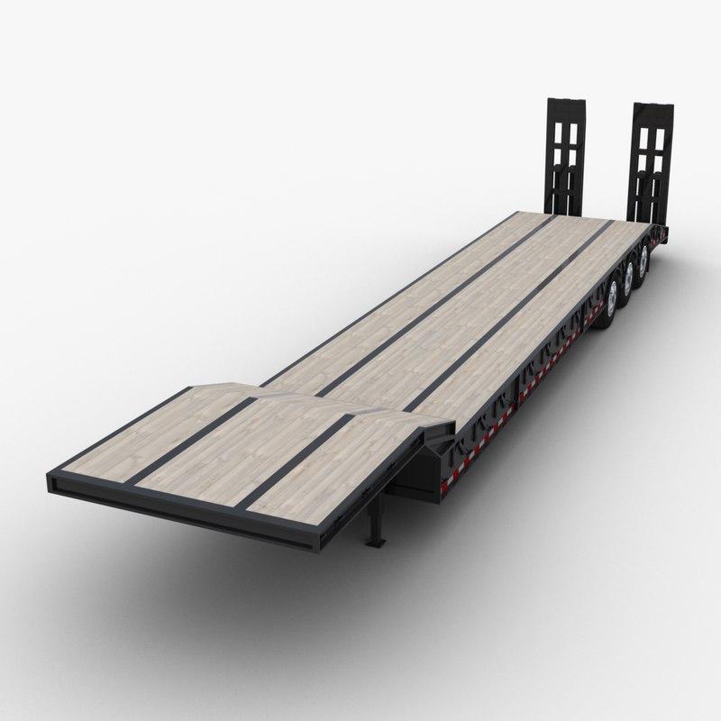 lowboy semi-trailer trailer ramps 3D