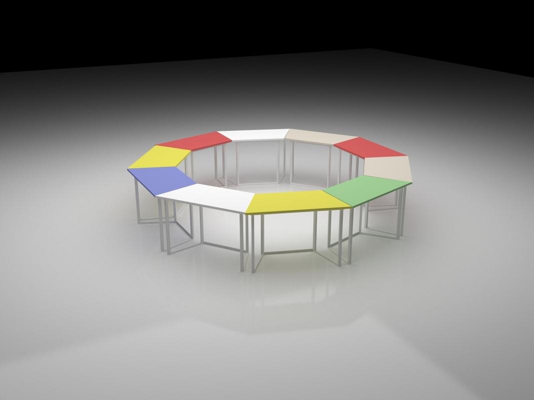 3D hexagonal work table model