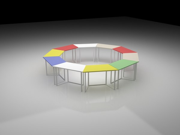 3D hexagonal work table model