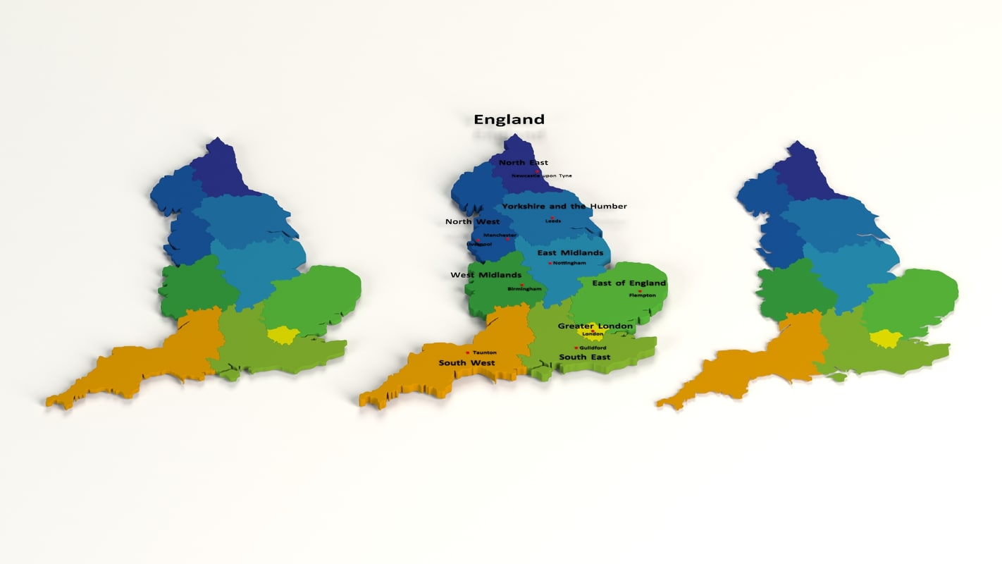 3d Map Of England.England Regional Map