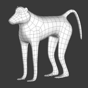 3D baboon mesh model