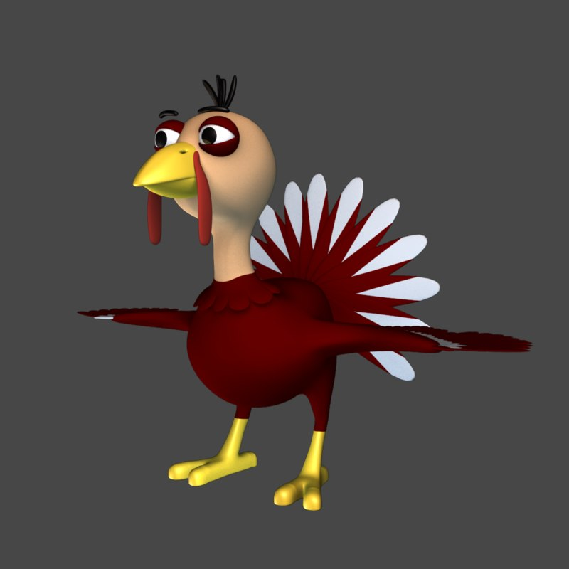 cartoon turkey 3D model