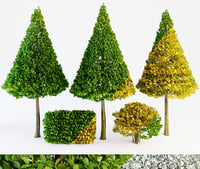 3D trees bushes green