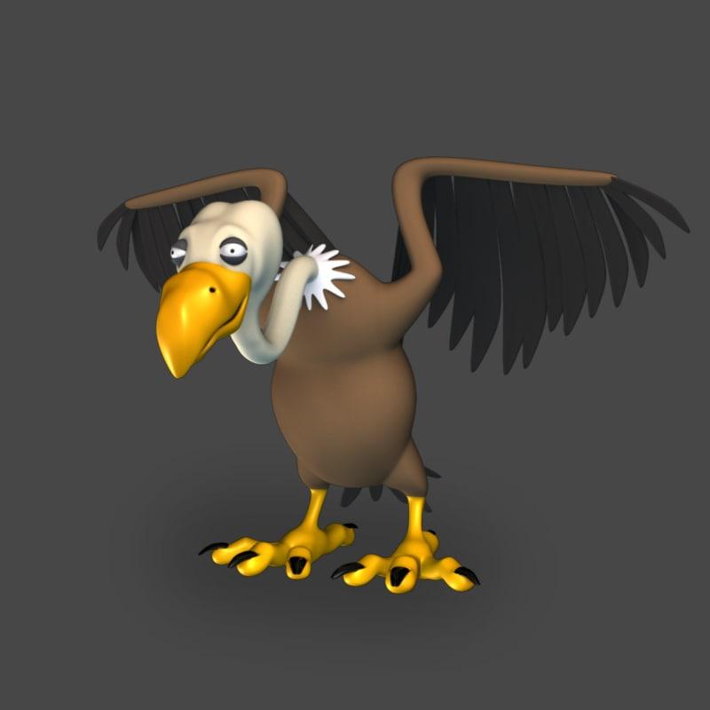 3D cartoon toon vulture