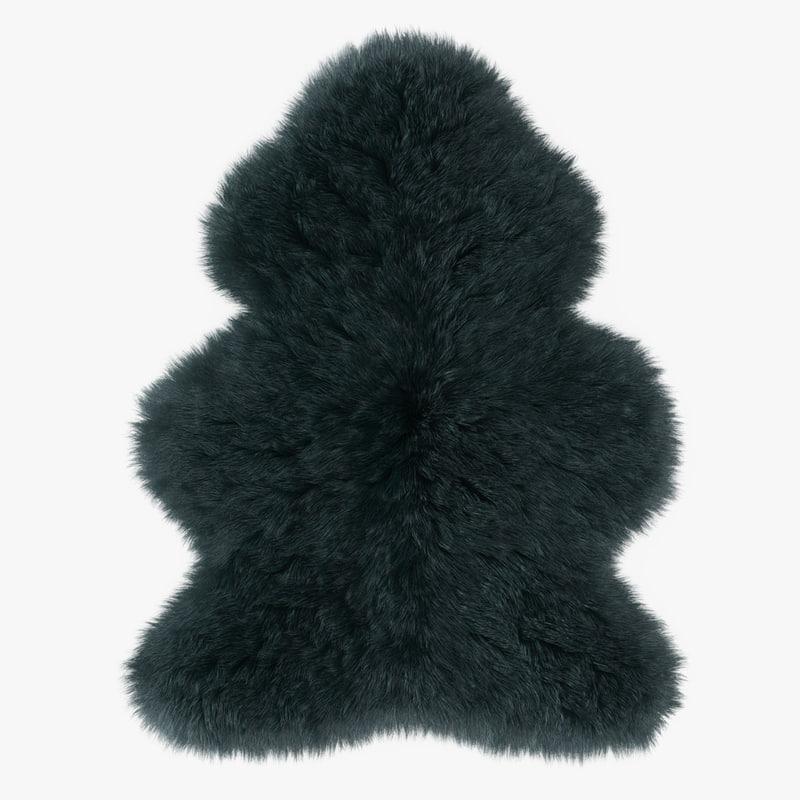 3D wool sheepskin rug model