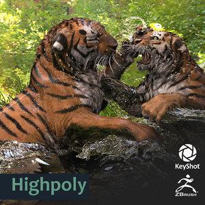 tiger keyshot zbrush highres 3d 3ds