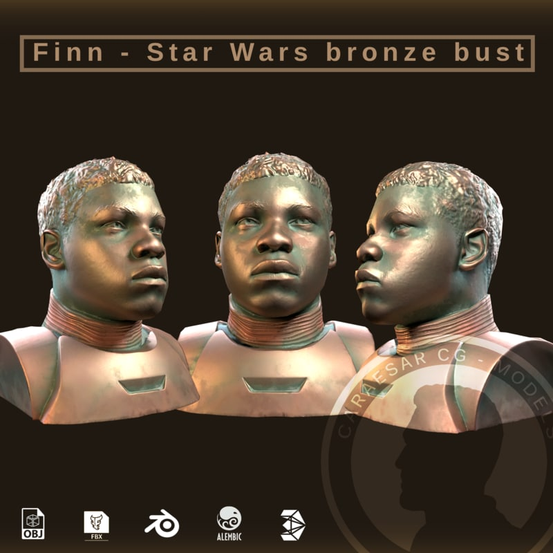 3D model finn star wars bronze