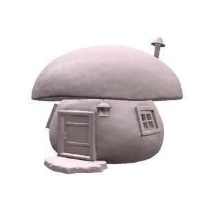 3D mushroom house zbrush model