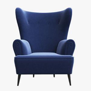 clerk armchair brabbu 3D