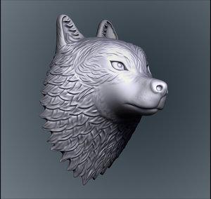 3D model wolf head