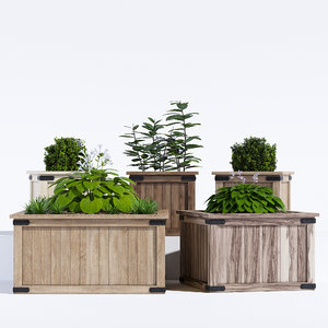 3D rustic barnwood planter model