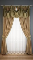 Classic curtain with pelmet and rail