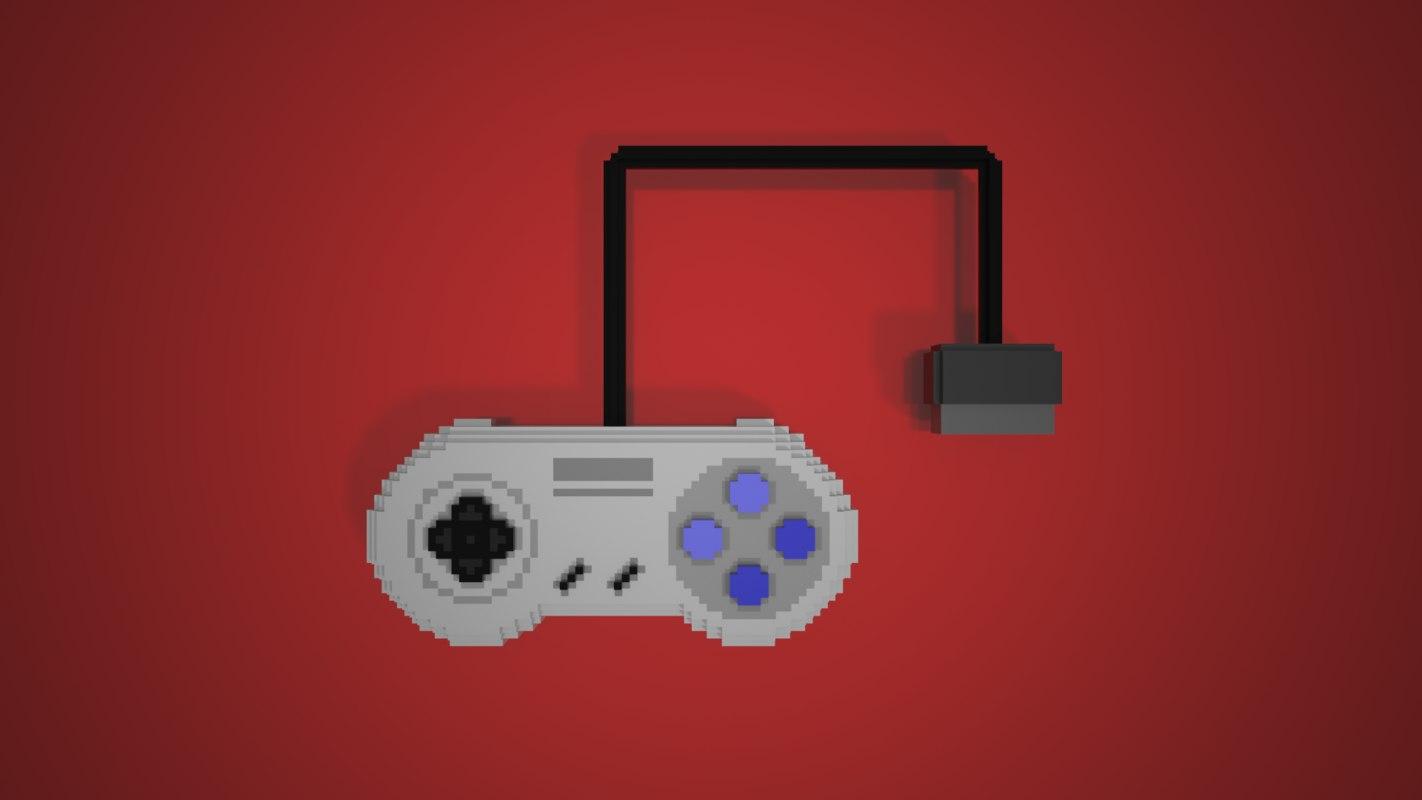 8-bit snes controller 3D model