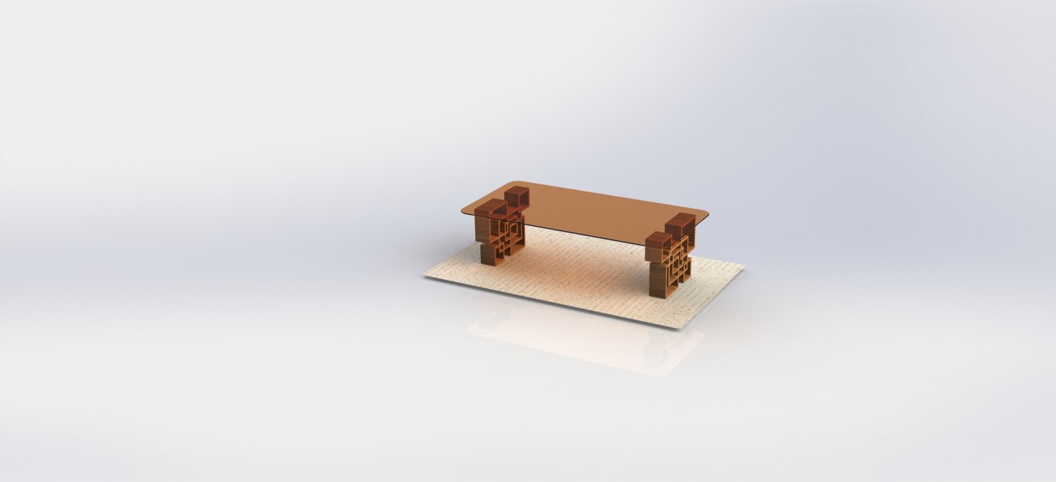 3D simple glass table model