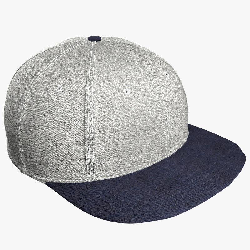 snapback cap grey 3D
