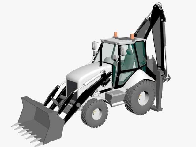 tractor backhoe 3D model