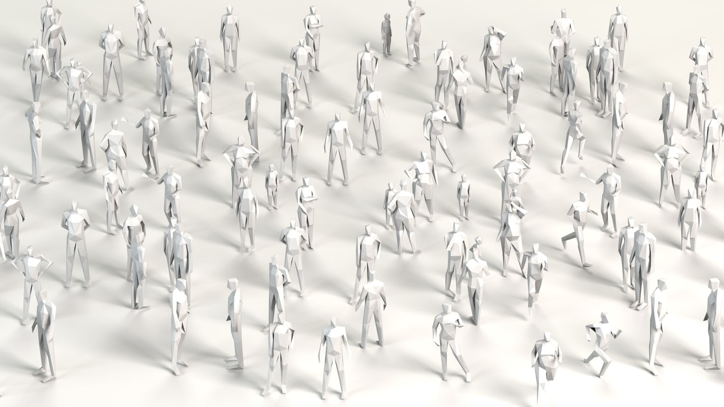 cartoon crowd poised model