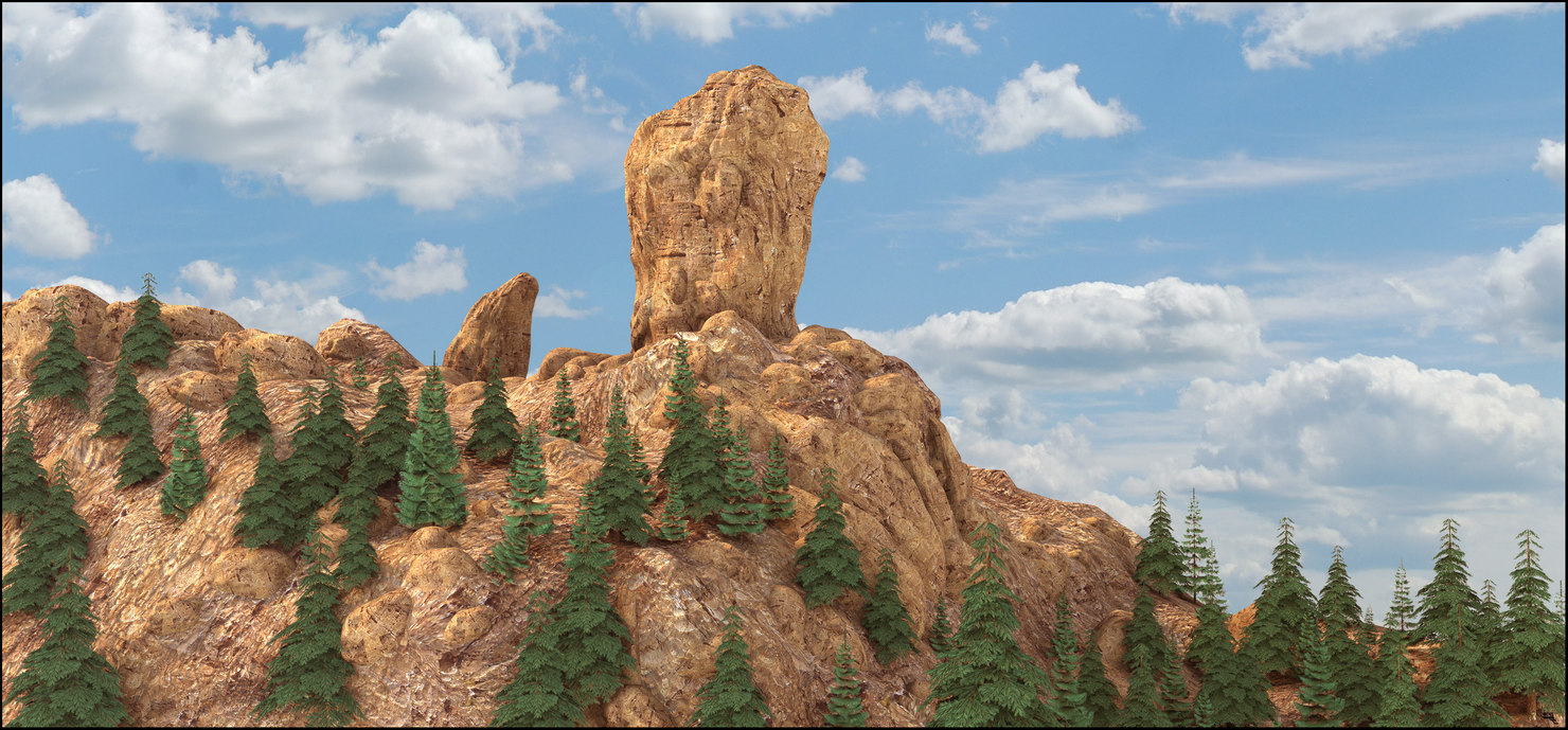 3D rock landscape mountain