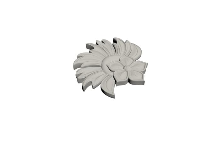 3D model curved flower