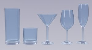 3D model glass cups