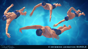 3D 4 swimming animation pack