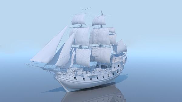 3D galeon ship