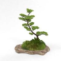 3D stone grass tree model