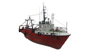 3D small-sized fishing trawler refrigerator model