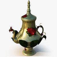 3D rose teapot pot