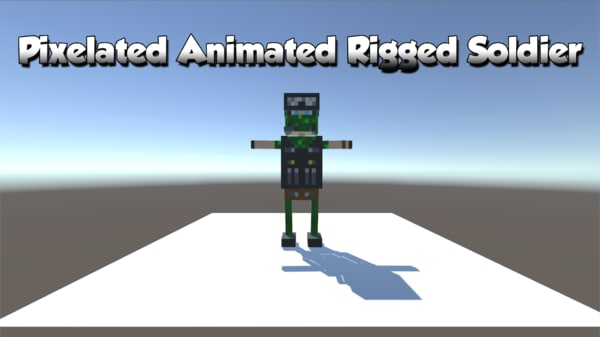 3D model pixelated army soldier animations