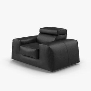 3D leather armchair boss