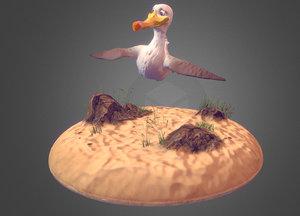 3D cartoon seagull model