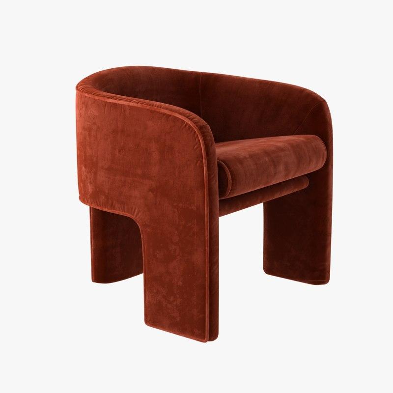 milo baughman armchair orange model