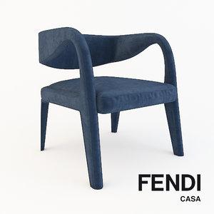 3D armchair beremice fendi model