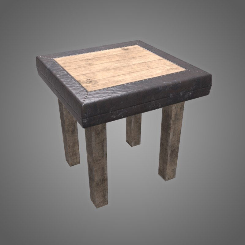 3D small wooden table - model