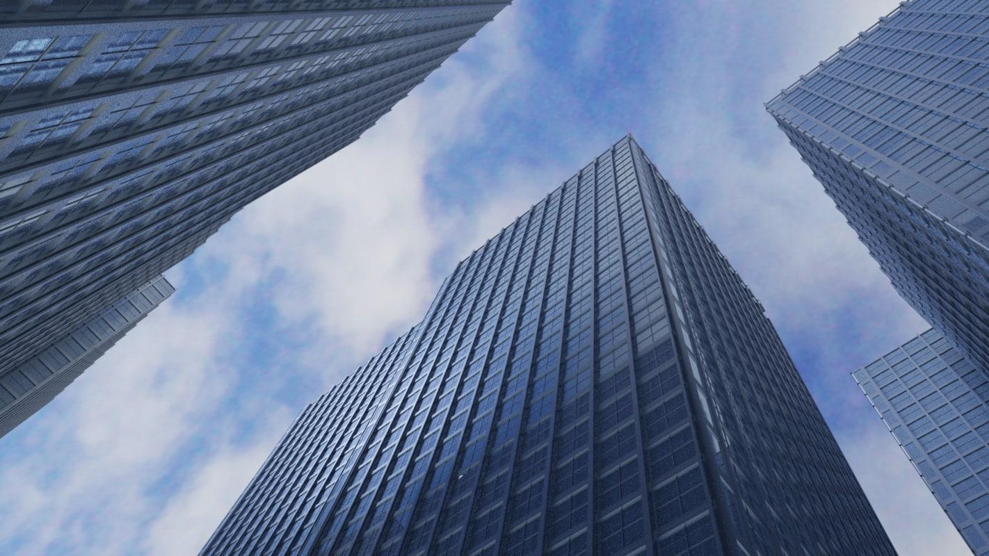 3D model buildings reflections