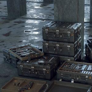3D gun boxes scifi -