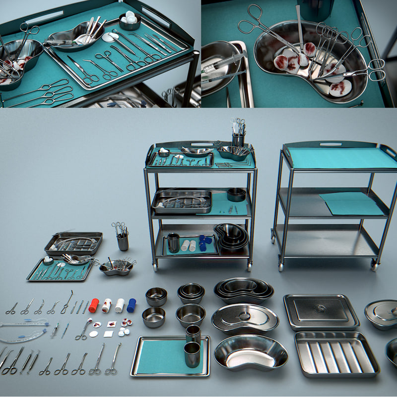 3d surgical instruments - medical equipment model