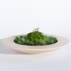 3D bench rosetta bowl planter model