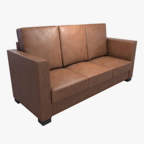 3D model leather sofa