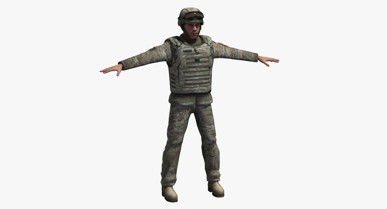 3D army soldier multicam