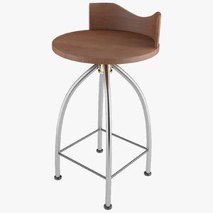 3D bar stool wood chair