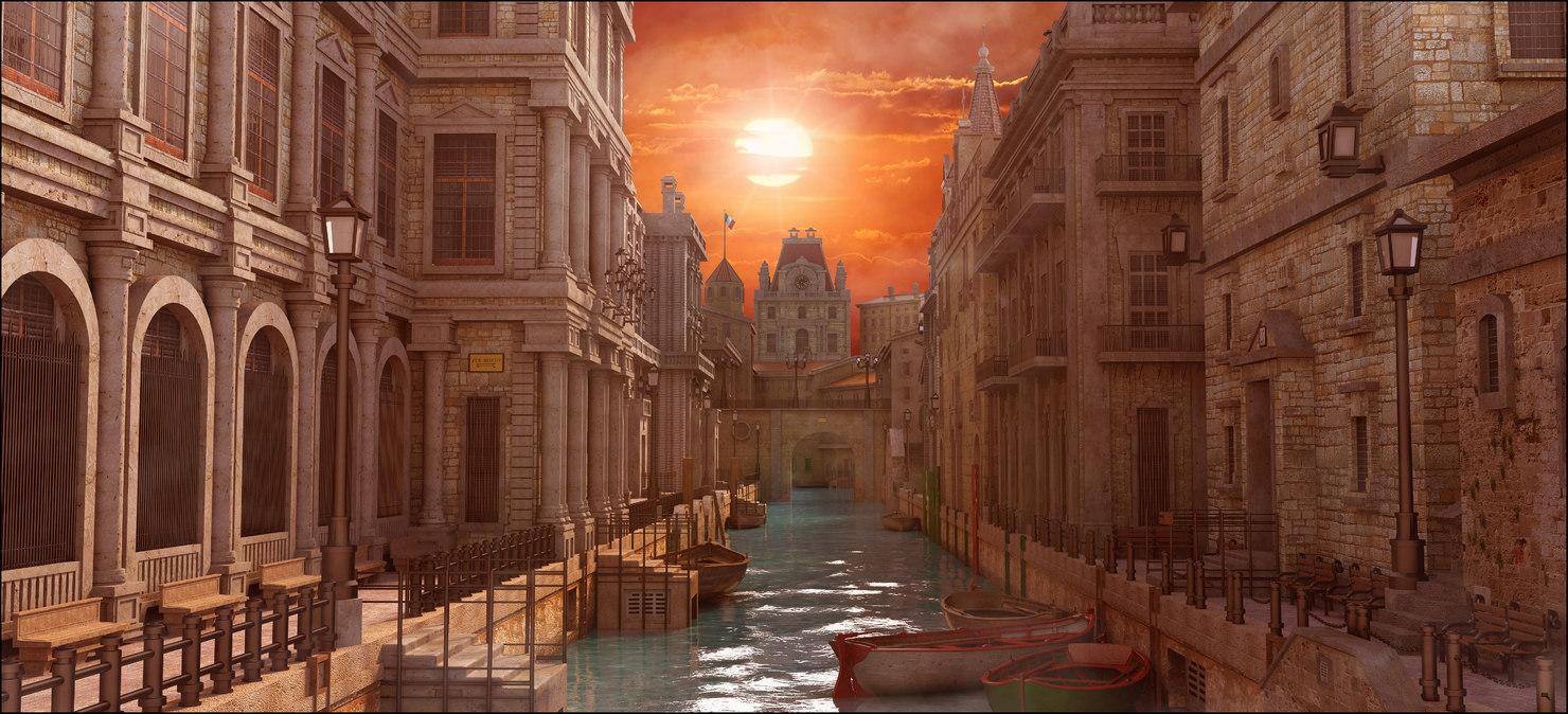 scene buildings sunset 3D model