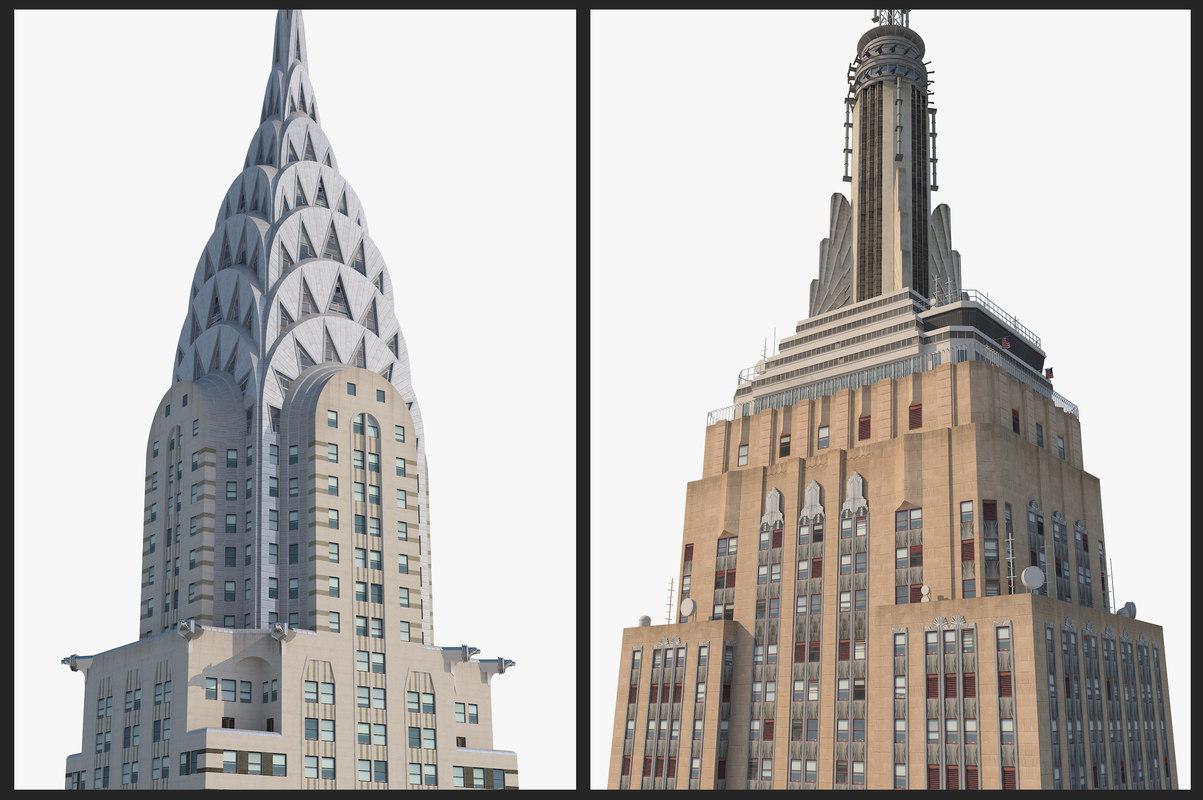 3D empire state building chrysler model