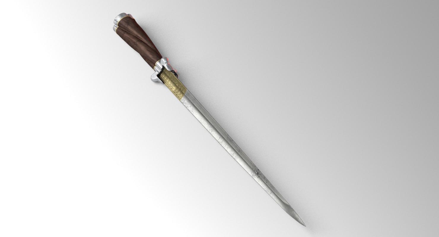 tri-edge german dagger 3D