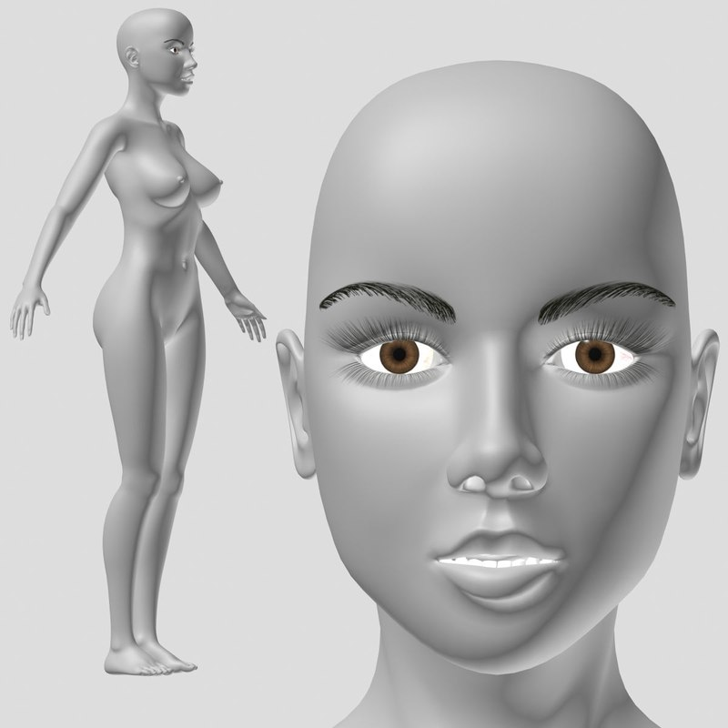 3D model base mesh female character