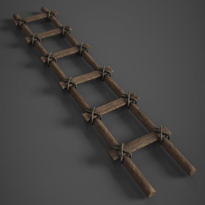 old wooden ladder 3D model