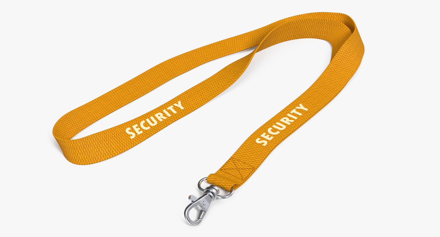 yellow security lanyard 3D model