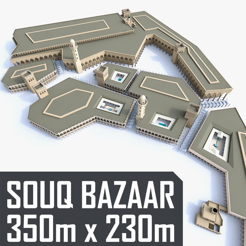 3D souq marketplace courtyards model