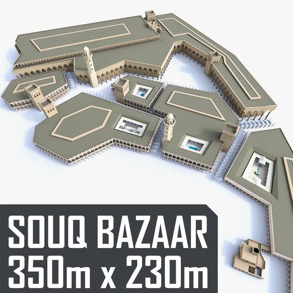 3D souq marketplace courtyards model